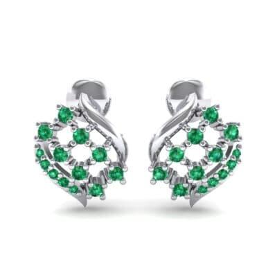Studded Crosshatch Emerald Earrings (0.16 CTW) Side View