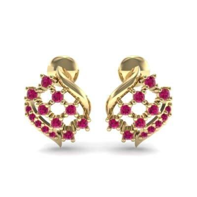 Studded Crosshatch Ruby Earrings (0.16 CTW) Side View