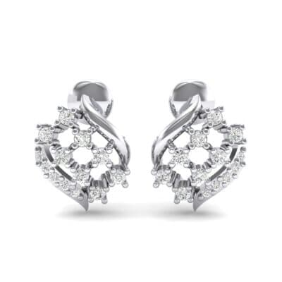 Studded Crosshatch Crystal Earrings (0.16 CTW) Side View