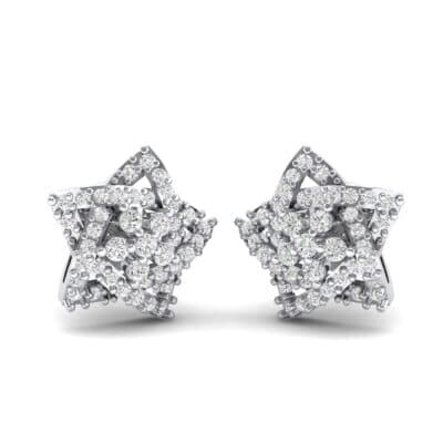 Pave Pentagram Diamond Earrings (0.47 CTW) Perspective View