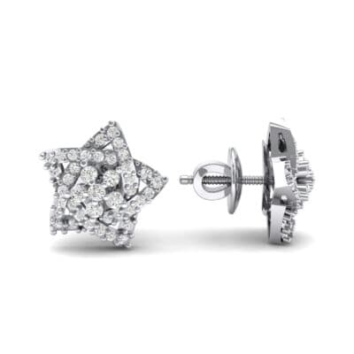 Pave Pentagram Diamond Earrings (0.47 CTW) Top Dynamic View