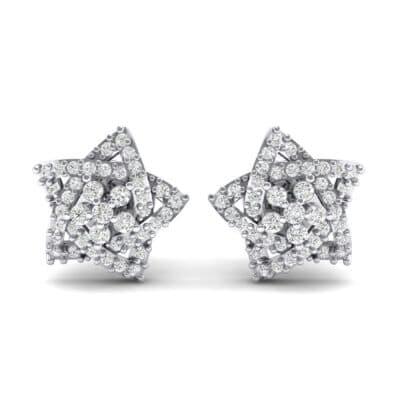 Pave Pentagram Diamond Earrings (0.47 CTW) Side View