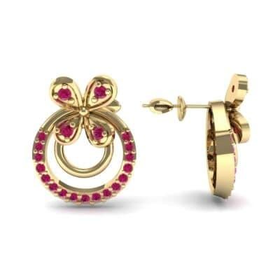 Flower Wheel Ruby Earrings (0.22 CTW) Top Dynamic View