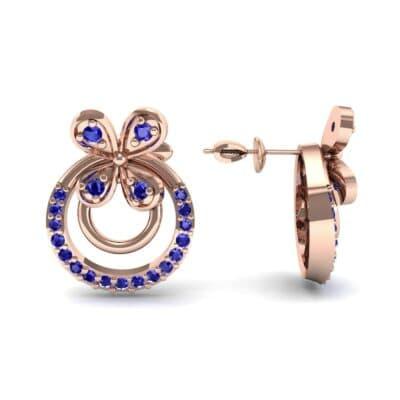 Flower Wheel Blue Sapphire Earrings (0.22 CTW) Top Dynamic View
