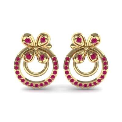 Flower Wheel Ruby Earrings (0.22 CTW) Side View
