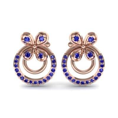 Flower Wheel Blue Sapphire Earrings (0.22 CTW) Side View