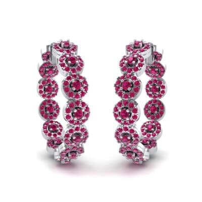 Halo Ruby Huggie Earrings (3.52 CTW) Perspective View