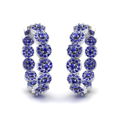 Halo Blue Sapphire Huggie Earrings (3.52 CTW) Perspective View