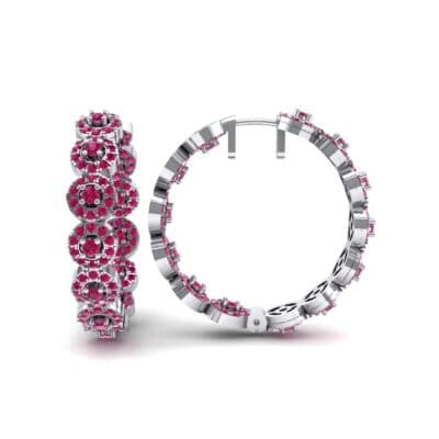 Halo Ruby Huggie Earrings (3.52 CTW) Top Dynamic View