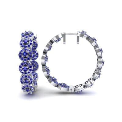 Halo Blue Sapphire Huggie Earrings (3.52 CTW) Top Dynamic View