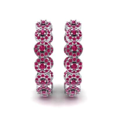 Halo Ruby Huggie Earrings (3.52 CTW) Side View
