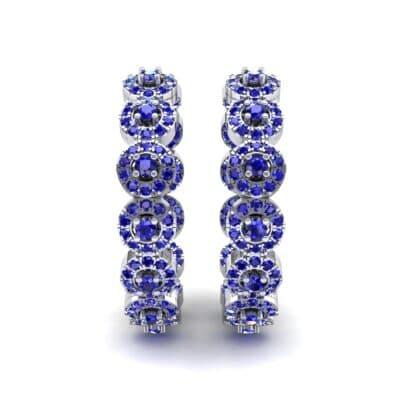Halo Blue Sapphire Huggie Earrings (3.52 CTW) Side View