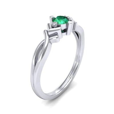 Chevron Twist Solitaire Emerald Engagement Ring (0.25 CTW) Perspective View