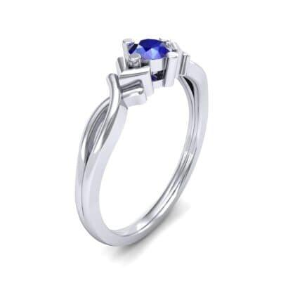 Chevron Twist Solitaire Blue Sapphire Engagement Ring (0.25 CTW) Perspective View