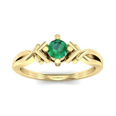 Chevron Twist Solitaire Emerald Engagement Ring (0.25 CTW) Top Dynamic View
