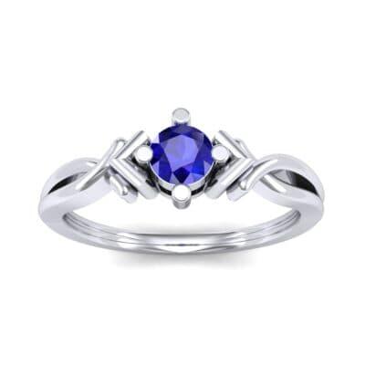 Chevron Twist Solitaire Blue Sapphire Engagement Ring (0.25 CTW) Top Dynamic View