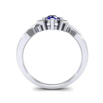 Chevron Twist Solitaire Blue Sapphire Engagement Ring (0.25 CTW) Side View