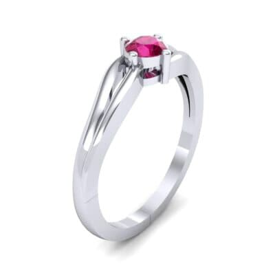 Double Shank Solitaire Ruby Engagement Ring (0.26 CTW) Perspective View