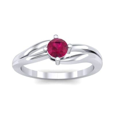 Double Shank Solitaire Ruby Engagement Ring (0.26 CTW) Top Dynamic View