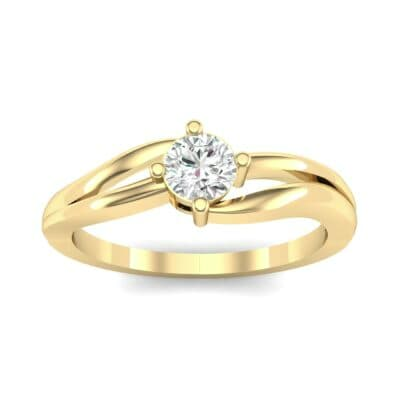 Double Shank Solitaire Diamond Engagement Ring (0.26 CTW) Top Dynamic View