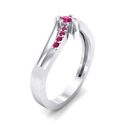 Prong-Set Illusion Bypass Ruby Engagement Ring (0.16 CTW) Perspective View