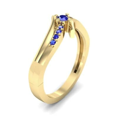 Prong-Set Illusion Bypass Blue Sapphire Engagement Ring (0.16 CTW) Perspective View