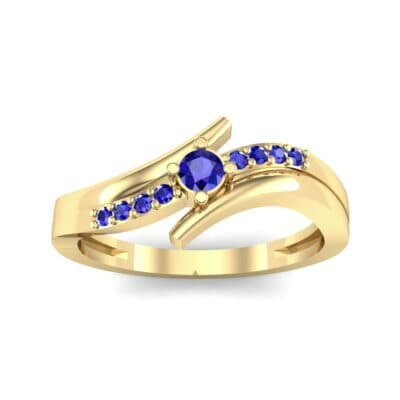 Prong-Set Illusion Bypass Blue Sapphire Engagement Ring (0.16 CTW) Top Dynamic View
