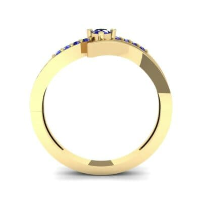 Prong-Set Illusion Bypass Blue Sapphire Engagement Ring (0.16 CTW) Side View
