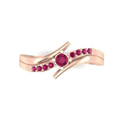 Prong-Set Illusion Bypass Ruby Engagement Ring (0.16 CTW) Top Flat View