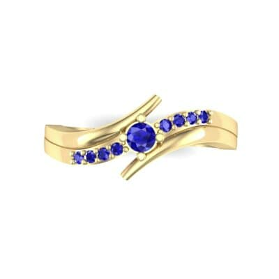 Prong-Set Illusion Bypass Blue Sapphire Engagement Ring (0.16 CTW) Top Flat View
