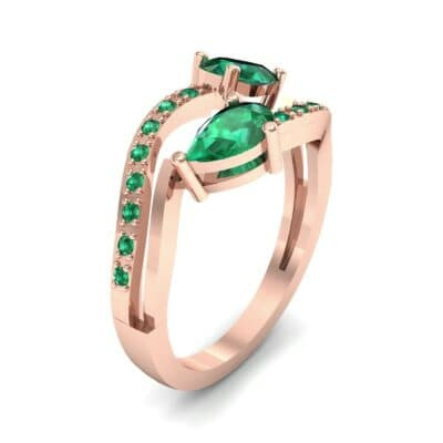 Two-Stone Basilisk Emerald Engagement Ring (0.66 CTW) Perspective View