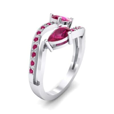 Two-Stone Basilisk Ruby Engagement Ring (0.66 CTW) Perspective View