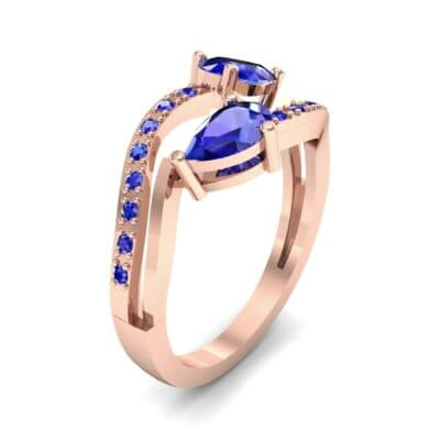 Two-Stone Basilisk Blue Sapphire Engagement Ring (0.66 CTW) Perspective View