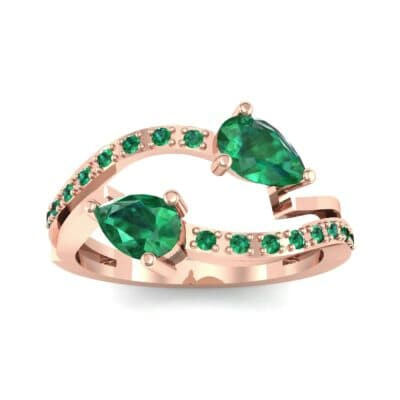 Two-Stone Basilisk Emerald Engagement Ring (0.66 CTW) Top Dynamic View