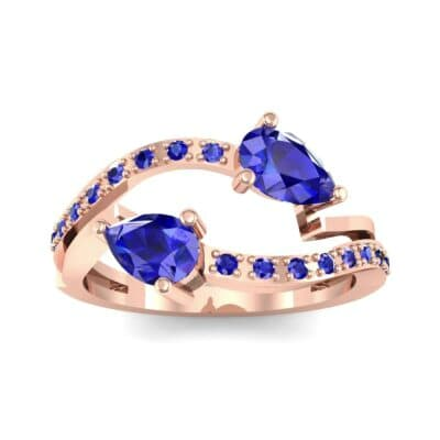 Two-Stone Basilisk Blue Sapphire Engagement Ring (0.66 CTW) Top Dynamic View