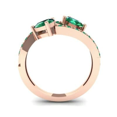 Two-Stone Basilisk Emerald Engagement Ring (0.66 CTW) Side View
