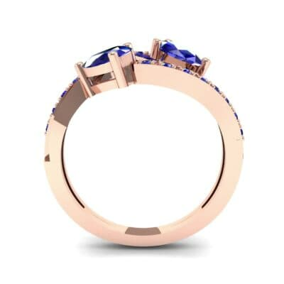 Two-Stone Basilisk Blue Sapphire Engagement Ring (0.66 CTW) Side View