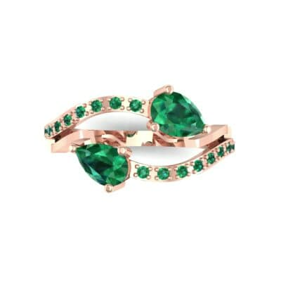 Two-Stone Basilisk Emerald Engagement Ring (0.66 CTW) Top Flat View