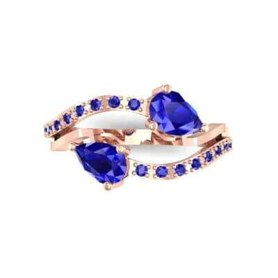 Two-Stone Basilisk Blue Sapphire Engagement Ring (0.66 CTW) Top Flat View