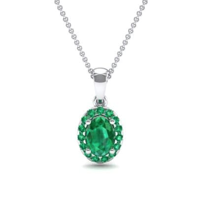 Oval Halo Emerald Pendant (0.98 CTW) Top Dynamic View