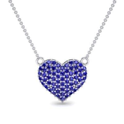 Pave Heart Blue Sapphire Necklace (0.65 CTW) Top Dynamic View