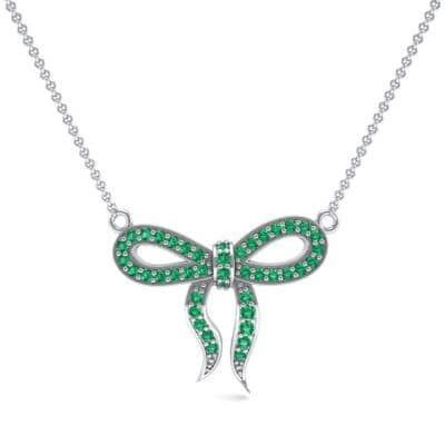 Pave Bow Emerald Necklace (0.3 CTW) Top Dynamic View
