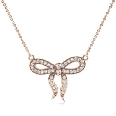 Pave Bow Diamond Necklace (0.3 CTW) Top Dynamic View