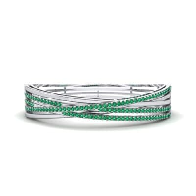 Pave Strand Emerald Cuff (1.92 CTW) Perspective View