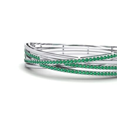 Pave Strand Emerald Cuff (1.92 CTW) Top Dynamic View