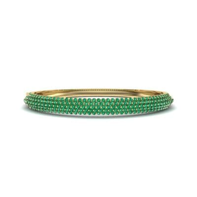 Pave Shield Emerald Cuff (2.64 CTW) Perspective View