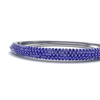 Pave Shield Blue Sapphire Cuff (2.64 CTW) Top Dynamic View