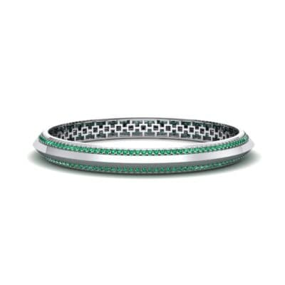 Pave Knife-Edge Emerald Bangle (3.97 CTW) Perspective View