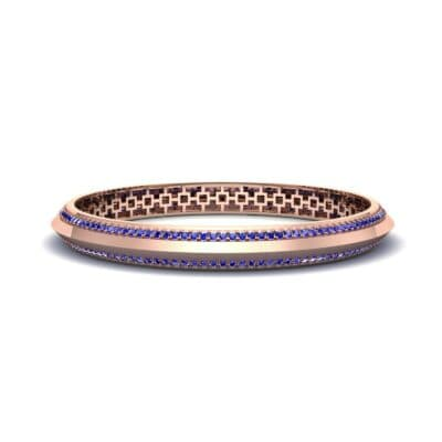 Pave Knife-Edge Blue Sapphire Bangle (3.97 CTW) Perspective View