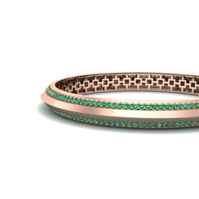 Pave Knife-Edge Emerald Bangle (3.97 CTW) Top Dynamic View